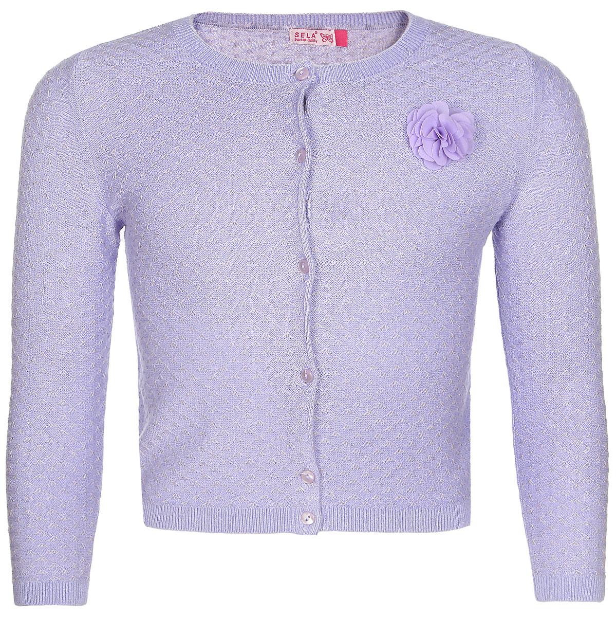 Кофта для девочки Sela, цвет: сиреневый. CN-514/275-7321. Размер 116 ruffle neckline and cuff blouse