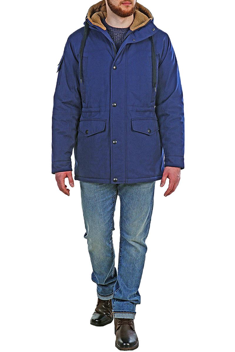 Куртка мужская Xaska, цвет: темно-синий. 17718. Размер 5417718_NavyКуртка средней длины на утеплителе Termofinn Plus. Модель с несъемным капюшоном застегивается на застежку-молнию и дополнительно на кнопки. Подкладка капюшона из трикотажного меха (шерпа). Регулировка по талии и по низу куртки. Спереди расположены карманы.