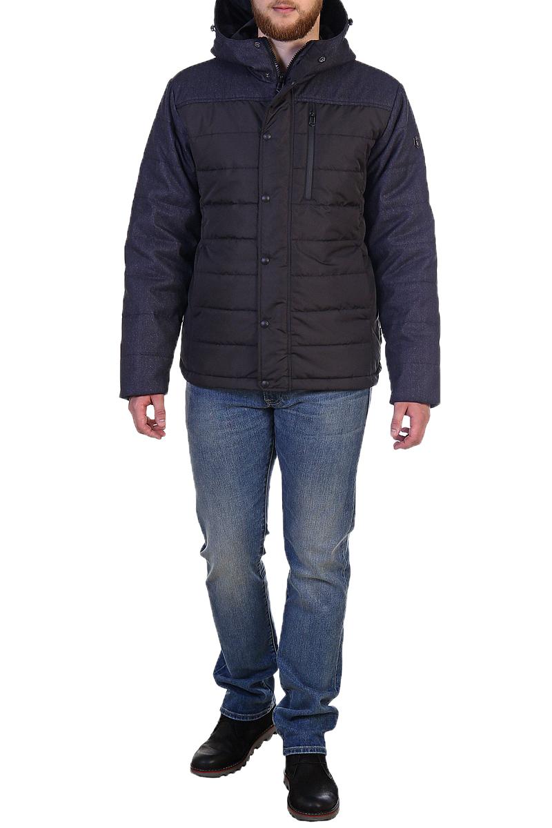 Куртка мужская Xaska, цвет: черный. 17716. Размер 4617716_BlackКуртка средней длины на утеплителе Termofinn Plus. Модель с несъемным капюшоном застегивается на застежку-молнию и дополнительно ветрозащитным клапаном на кнопки. Капюшон регулируется с помощью шнурка со стопперами. На груди расположен накладной карман на застежке-молнии.