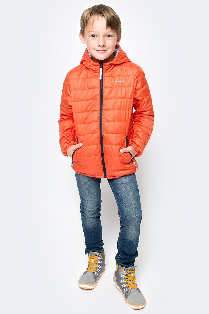 Куртка для мальчика Icepeak, цвет: оранжевый. 750018504IV_640. Размер 128750018504IV_640Куртка для мальчика Icepeak выполнена из качественного материала. Модель с капюшоном и длинными рукавами застегивается на застежку-молнию. Изделие дополнено двумя врезными карманами на молниях.