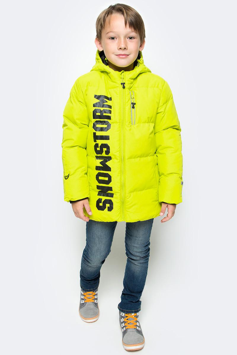Куртка для мальчика PlayToday, цвет: желтый. 371102. Размер 128371102Теплая куртка PlayToday на молнии выполнена из плотной водонепроницаемой ткани. Специальный карман для бегунка не позволит застежке травмировать нежную кожу ребенка. Вшивной капюшон дополнен регулируемым шнуром-кулиской. Манжеты изделия на мягких трикотажных резинках. Модель с вшивными карманами. В качестве декора использован контрастный принт.