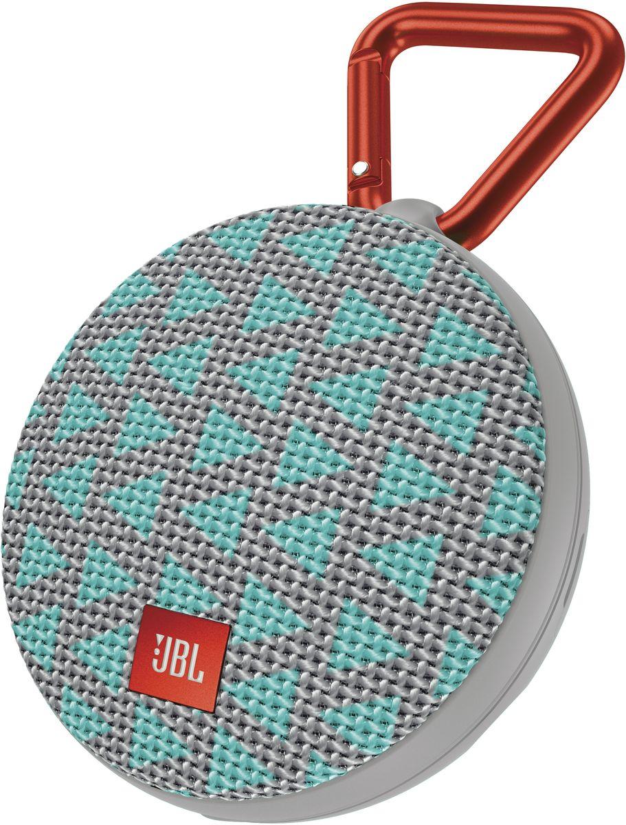 JBL Clip 2, Trio портативная акустическая системаJBLCLIP2TRIOJBL Clip 2 - ультра-легкая, ультра-прочная и ультра-мощная портативная акустическая система. Полностью водонепроницаемый JBL Clip 2 способен воспроизводить музыку до 8 часов в непрерывном режиме, позволяя брать любимые песни с собой в любое путешествие - по земле или воде. Воспроизводите музыку по беспроводной Bluetooth-связи или подключайте его к смартфону или планшету с помощью аудио-кабеля. Подключайте два Clip 2 по беспроводной связи для усиления звучания. Используйте спикерфон, чтобы звук во время разговора по телефону оставался четким без посторонних шумов и эхо. Покрытие JBL Clip 2 выполнено из прочной водостойкой ткани, а новый карабин позволяет прикрепить динамик на одежду или рюкзак и сразу отправиться в новое приключение.Как выбрать портативную колонку. Статья OZON Гид