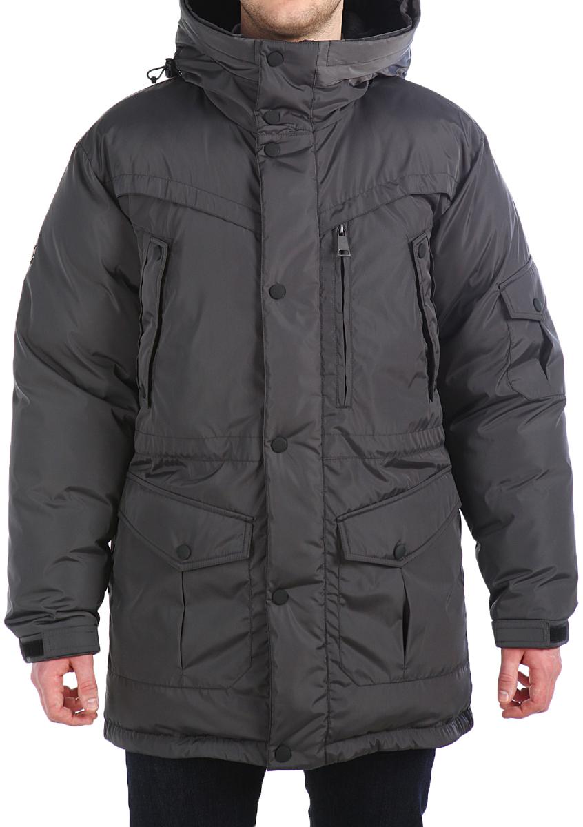 Пуховик мужской Xaska, цвет: серый. 16612. Размер 5416612_Dark steelКуртка пуховая удлиненная. Регулировка по талии и по низу куртки. Капюшон не отстегивается. Подкладка капюшона из трикотажного меха.