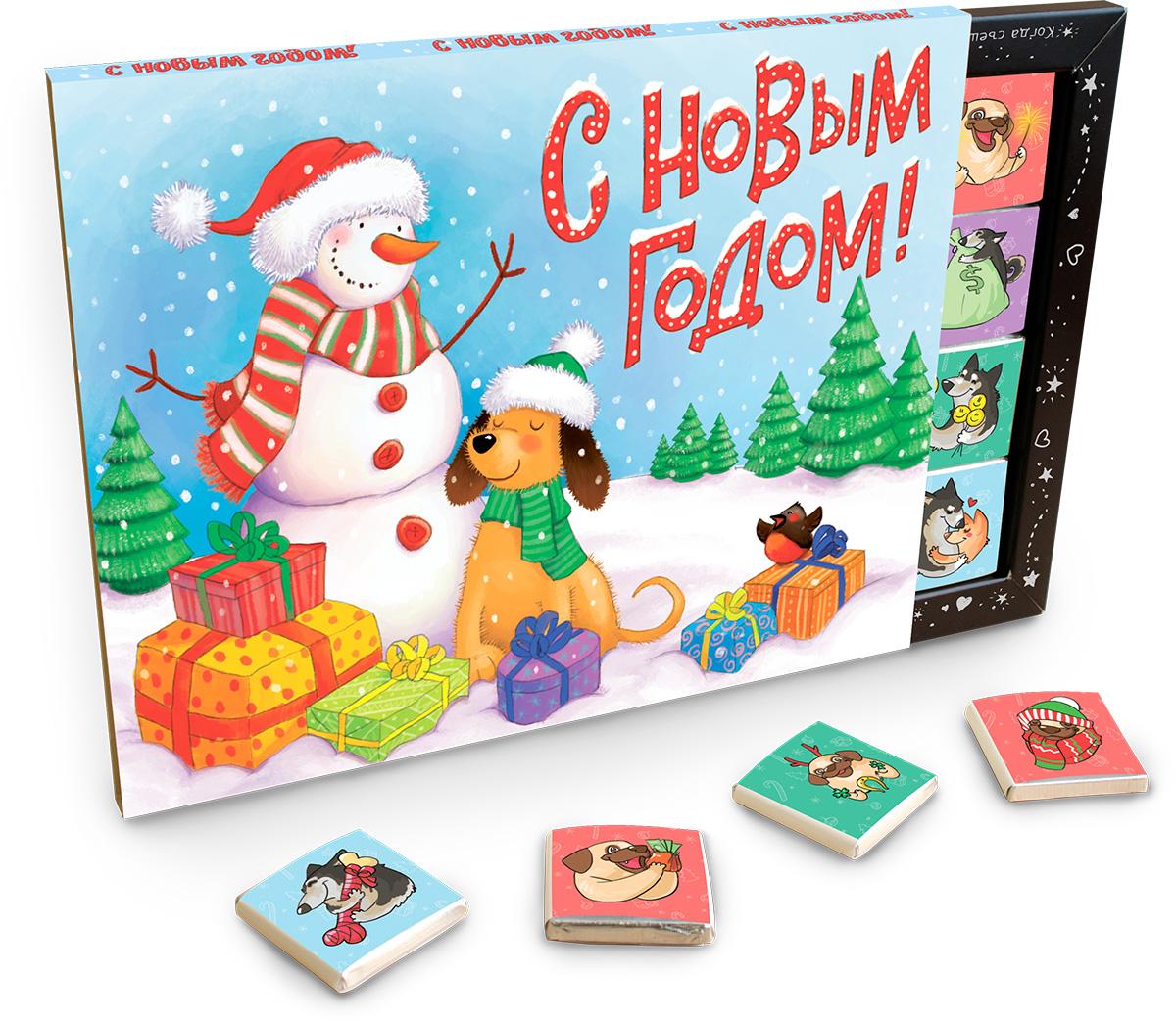 Chokocat Символ года молочный шоколад, 100 гБИГ015Шоколадный набор Символ года- подарит яркие и красочные новогодние поздравления от символа года! Набор из 20 молочных шоколадок высшего сорта, каждая из которых завернута в оригинальную этикетку с иллюстрацией и надписью - станет прекрасным дополнением к подарку или же самостоятельным подарком.