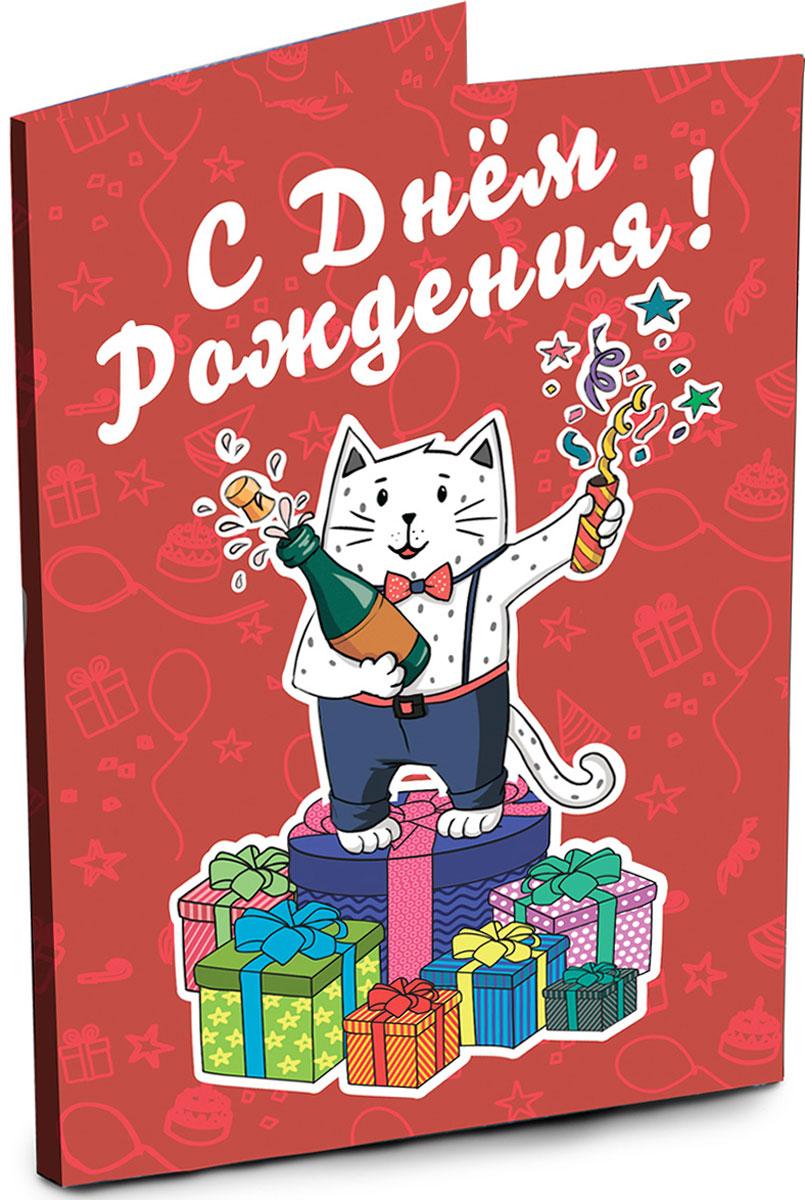 Chokocat С днем рождения открытка с шоколадом, 20 гОТК017Яркая открытка с самыми важными пожеланиями ко Дню Рождения. Внутри 4 молочных шоколадки по 5 грамм с веселыми пожеланиями ко Дню Рождения.