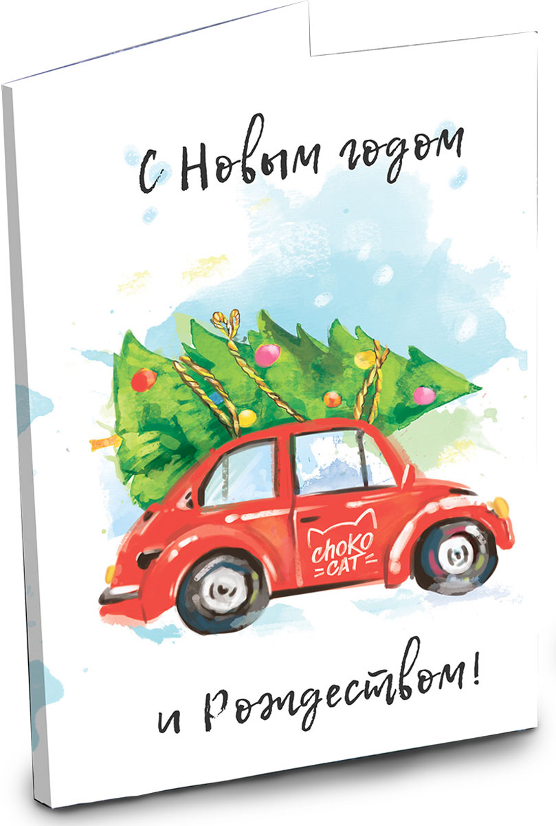 Chokocat С новым годом и рождеством открытка с шоколадом, 20 г chokocat с днем рождения темный шоколад 85 г