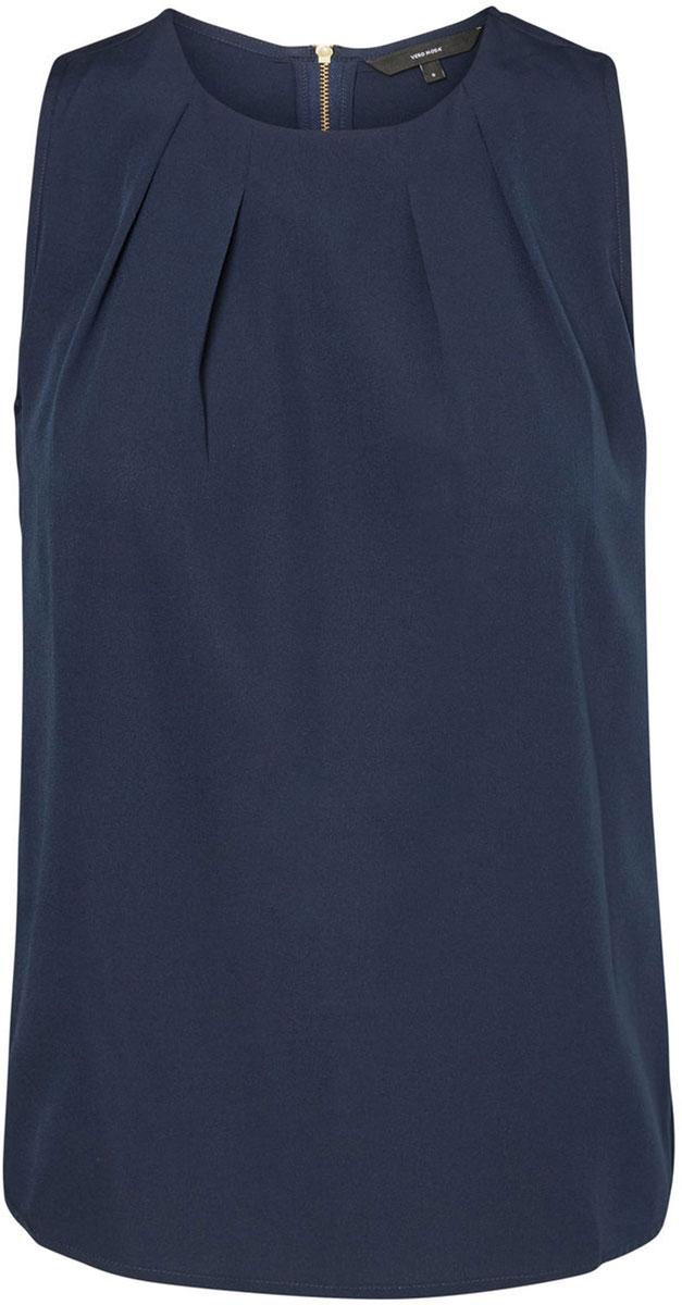 Блузка женская Vero Moda, цвет: синий. 10185857_Navy Blazer. Размер M (46)10185857_Navy BlazerБлузка женская Vero Moda с круглым вырезом горловины и без рукавов, сзади застегивается на молнию.