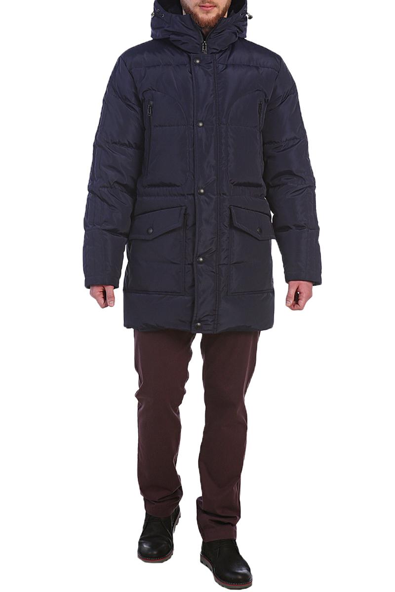 Пуховик мужской Xaska, цвет: темно-синий. 17705. Размер 5417705_NavyКуртка пуховая удлиненная. Капюшон не отстегивается. Подкладка капюшона из трикотажного меха. Регулировка по низу куртки.