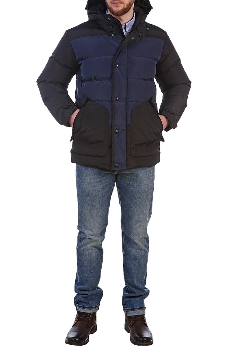 Пуховик мужской Xaska, цвет: черный, синий. 17702. Размер 4817702_Black/NavyКуртка пуховая средней длины выполнена из высококачественного материала. Модель с несъемным капюшоном застегивается на застежку-молнию и дополнительно ветрозащитным клапаном на кнопки. Капюшон регулируется с помощью шнурка со стопперами. Регулировка по низу куртки. Спереди расположены карманы на застежках-молниях.