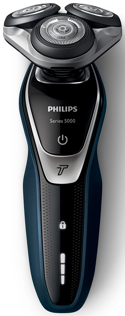 Philips S5310/06 электробритва с насадкой-триммеромS5310/06Быстрое и гладкое бритье. На 10 % больше мощности. Бритва Philips S5310/06 серии 5000 позволяет быстрее закончить утренние сборы. При бритье лезвия приподнимают и длинные, и короткие волоски для невероятно быстрого бритья, а головки движутся в 5 направлениях для быстроты и чистоты бритья. Система лезвий MultiPrecision и моющиеся головки. Питание от сети и от аккумулятора.Головки движутся в 5 направлениях для быстрого и чистого бритьяГоловки Flex двигаются независимо друг от друга в 5 направлениях. Это гарантирует оптимальный контакт с кожей для быстрого и гладкого бритья даже на шее и подбородке. Приподнимает волоски для более чистого и комфортного бритьяСистема двойных лезвий Super Lift & Cut обеспечивает идеально чистое и гладкое бритье. Первое лезвие приподнимает волоски, а второе — аккуратно срезает их у самого основания. Съемный триммер для точного подравнивания висков и усовЧтобы завершить образ, используйте безопасный для кожи съемный компактный триммер. Он идеально подходит для моделирования усов и подравнивания висков. Трехуровневый индикатор заряда батареи и индикатор дорожной блокировкиНа интуитивно понятном дисплее отображается вся необходимая информация, что позволяет в полной мере использовать все возможности вашей бритвы: трехуровневый индикатор аккумулятора, индикатор очистки, индикатор низкого заряда аккумулятора, индикатор сменной головки, индикатор дорожной блокировки. 45 минут автономной работыЗарядка в течение одного часа обеспечивает от 45 минут работы (примерно 15 сеансов бритья). Вы также можете использовать устройство, подключив его к сети питания. Зарядка в течение 1 часаМощный энергоэффективный и долговечный литий-ионный аккумулятор обеспечивает долгое время работы бритвы после каждой зарядки. Быстрой зарядки в течение 5 минут хватает для проведения одного сеанса бритья.