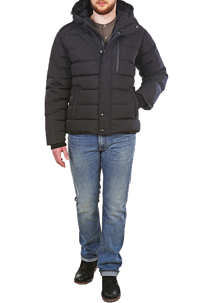Пуховик мужской Xaska, цвет: черный. 17707. Размер 5417707_BlackКуртка пуховая короткая выполнена из высококачественного материала. Модель с несъемным капюшоном застегивается на застежку-молнию и дополнительно на кнопки. Капюшон регулируется с помощью шнурка со стопперами. Регулировка по низу куртки. Спереди расположены карманы.