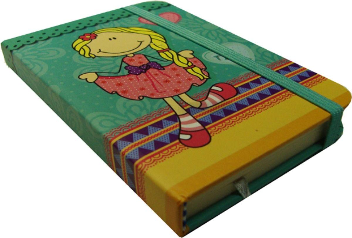 Карамба Блокнот Девочка блондинка на зеленом фоне фоне 80 листов в линейку004174