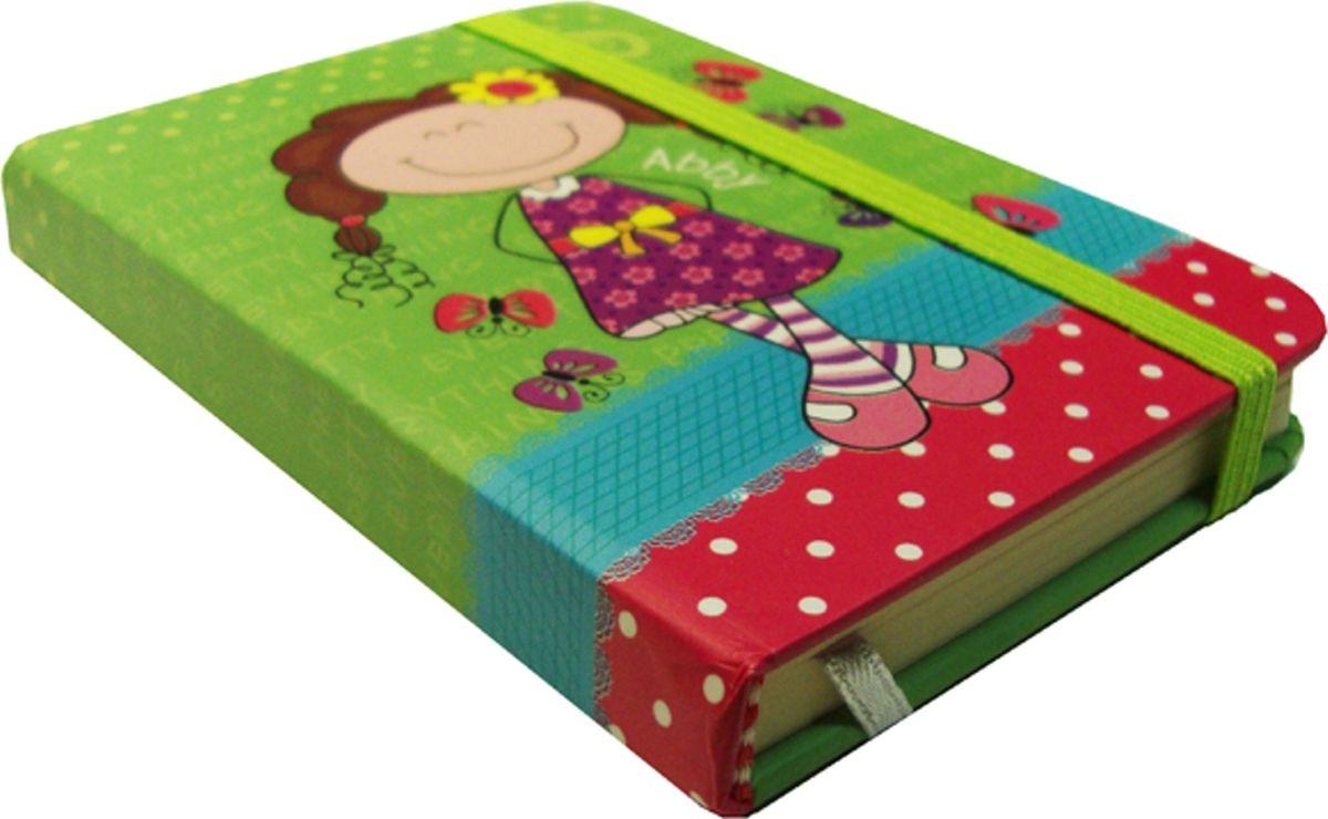 Карамба Блокнот Девочка брюнетка на зеленом фоне фоне 80 листов в линейку004175