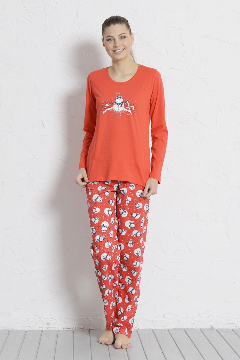 Комплект домашний женский Vienettas Secret Пингвин: брюки, лонгслив, цвет: красный. 606045 5091. Размер L (48)606045 5091