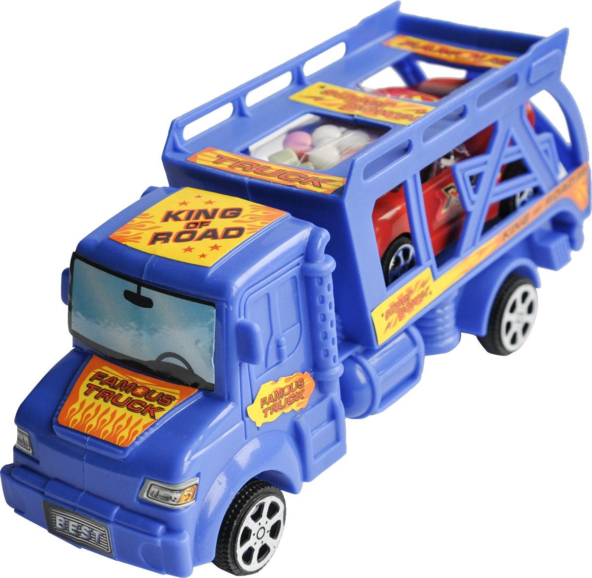 Конфитрейд Автовоз фруктовое драже с игрушкой, 5 гУТ21048Пластиковая машинка в виде автовоза из пластмассы с инерционным механизмом, внутри в кузове находится маленькая машинка из пластмассы без механизма + драже со вкусом клубники в прозрачном пакетике