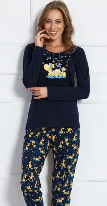 Комплект домашний женский Vienettas Secret Динозаврик под звездами: брюки, лонгслив, цвет: темно-синий. 703019 3130. Размер M (46)703019 3130