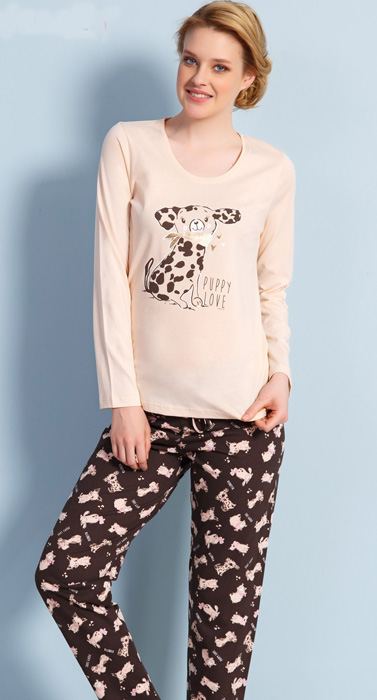 Комплект домашний женский Vienettas Secret Собачка Puppy Love: брюки, лонгслив, цвет: молочный. 703028 0393. Размер M (46)703028 0393