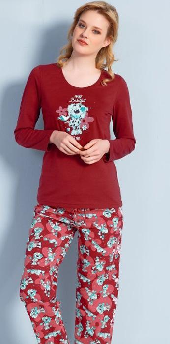 Комплект домашний женский Vienettas Secret Собака в цветах: брюки, лонгслив, цвет: бордовый. 703037 0390. Размер S (44)703037 0390