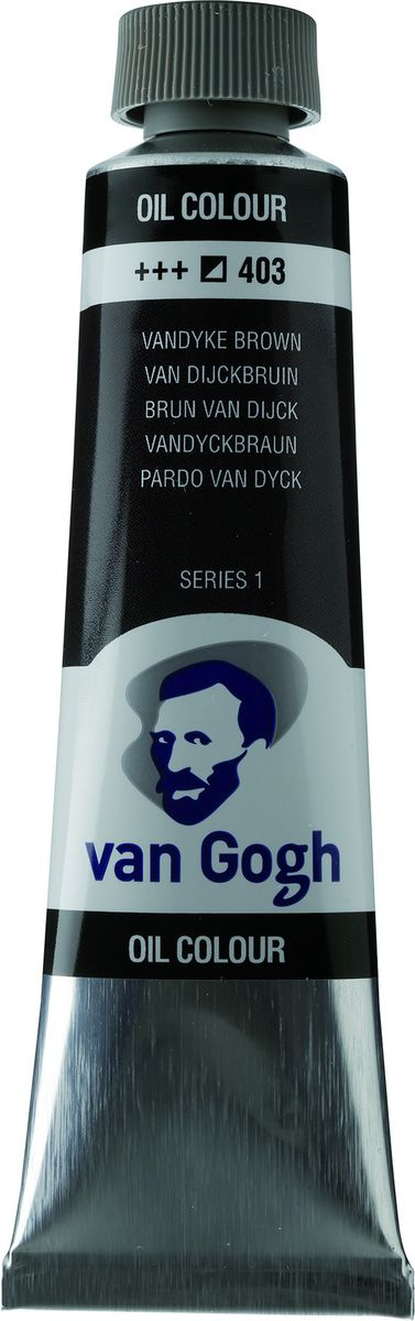 Royal Talens Краска масляная Van Gogh цвет 403 Ван-Дик коричневый 40 мл02054033Масляные краски Van Gogh – это современная линейка ярких и насыщенных оттенков с высоким содержанием пигмента. Все краски обладают одинаковой степенью плотности, прекрасно смешиваются между собой, с ними легко работать. Цветовой диапазон включает как укрывистые так и прозрачные краски, что позволяет создать эффект глубины картины.Основные характеристики:Высокое содержание пигментовСветостойкие (гарантия сохранения цвета у большинства оттенков - 100 лет)Яркие, интенсивные оттенкиРавномерная степень блеска и плотности цветов Палитра из 66 цветов