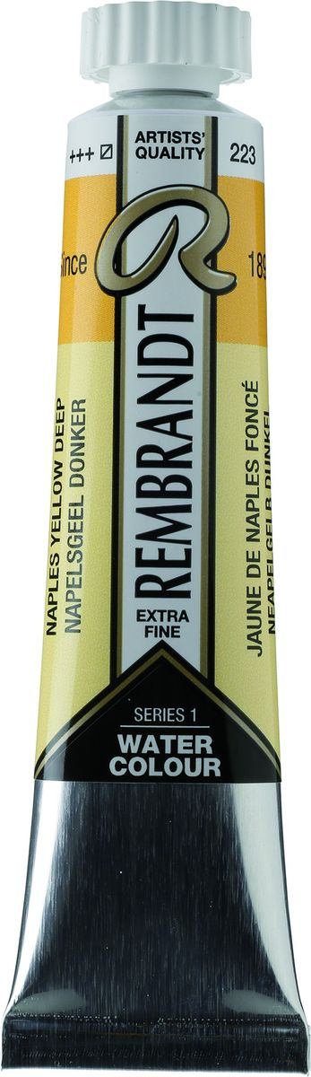 Royal Talens Акварель Rembrandt цвет 223 Желтый неаполитанский насыщенный 20 мл05042230Акварельные краски Rembrandt – это профессиональная акварель, обладающая всеми качествами, которые необходимы современным художникам. Каждый цвет состоит лишь из одного сконцентрированного пигмента и гуммиарабика (аравийской камеди), созданного по уникальной технологии. Краски отличаются высокой степенью светостойкости, прозрачности, обеспечивают отличную цветопередачу.Акварель Rembrandt хорошо ложится на бумагу, позволяя художнику контролировать расход краски с любой сложной фактурой. Уровень Artist.