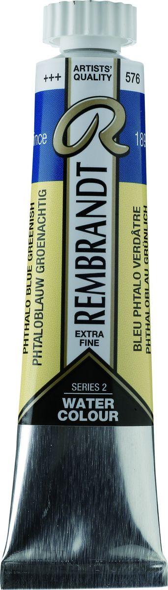 Royal Talens Акварель Rembrandt цвет 576 Сине-зеленый фталоцианин 20 мл05045760Акварельные краски Rembrandt – это профессиональная акварель, обладающая всеми качествами, которые необходимы современным художникам. Каждый цвет состоит лишь из одного сконцентрированного пигмента и гуммиарабика (аравийской камеди), созданного по уникальной технологии. Краски отличаются высокой степенью светостойкости, прозрачности, обеспечивают отличную цветопередачу. Акварель Rembrandt хорошо ложится на бумагу, позволяя художнику контролировать расход краски с любой сложной фактурой.Уровень Artist.