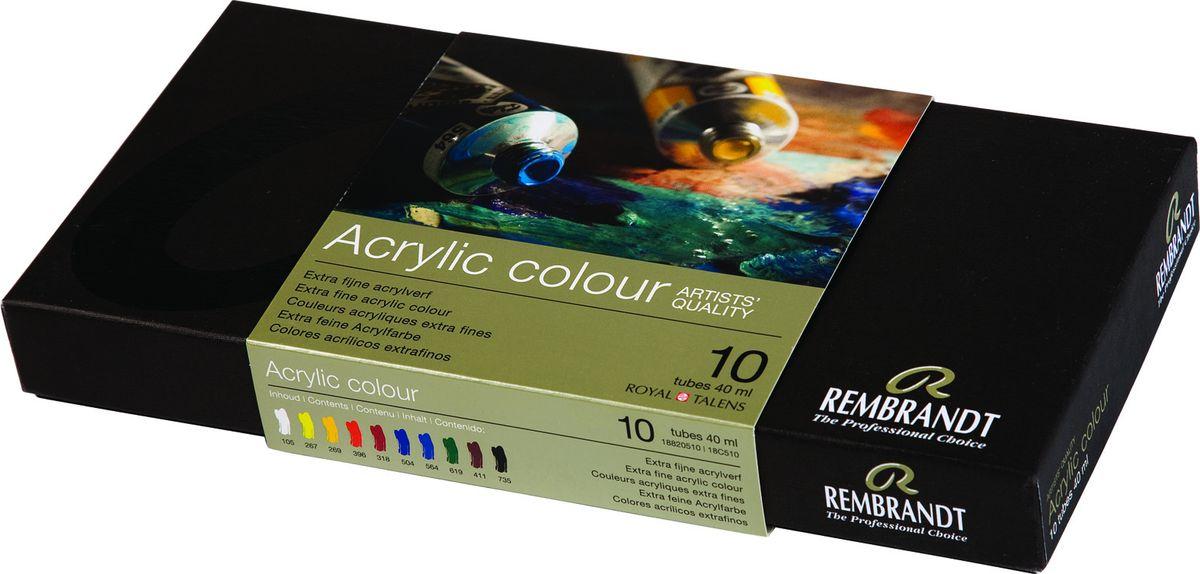Royal Talens Набор акриловых красок Rembrandt 10 цветов18820510Акриловые краскиRembrandt – это высококачественные краски для профессиональных художников.Краски обладают высокойстепенью светостойкости, плотной текстурой и яркими насыщенными цветами. При высыхании цвет не тускнеет и не мутнеет, он остается сочным и блестящим, и даже через много лет работа, написанная акрилом Rembrandt, будет выглядеть свежо и выразительно. Акрил прекрасно ложится на любую поверхность, будь то холст, бумага, стекло или дерево. После высыхания не образует трещин, а также не требует специальных закрепителей или лаков. УровняArtist.