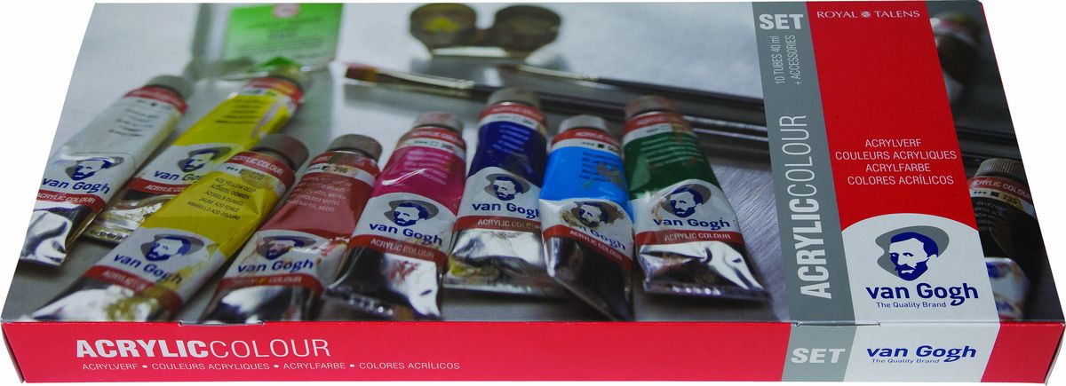 Royal Talens Набор акриловых красок Van Gogh Комбинированный 10 цветов02057083Акриловые краскиVan Gogh изготавливаются только из высококачественных пигментов.Краски имеют яркие насыщенные оттенки, высокую степень содержания пигмента, плотную текстуру и великолепную светостойкость.