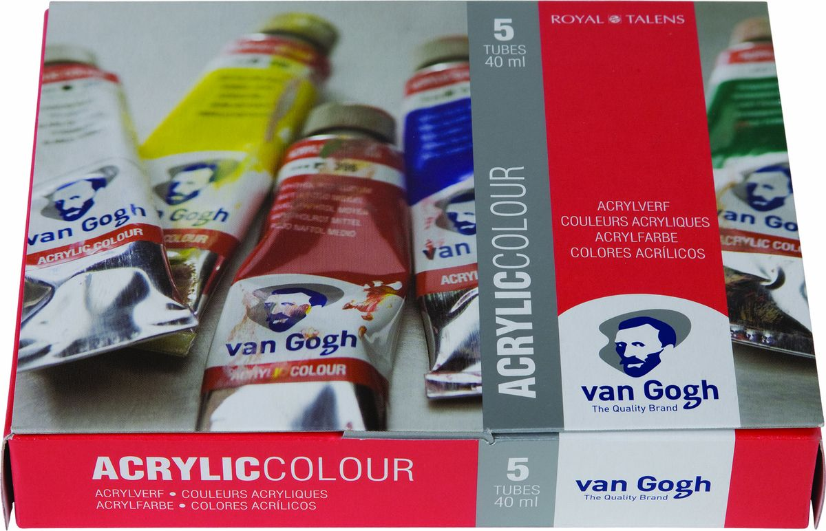 Royal Talens Набор акриловых красок Van Gogh Стартовый 5 цветов22820511Акриловые краскиVan Gogh изготавливаются только из высококачественных пигментов.Краски имеют яркие насыщенные оттенки, высокую степень содержания пигмента, плотную текстуру и великолепную светостойкость.