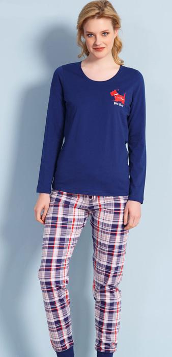 Комплект домашний женский Vienettas Secret Собака: брюки, лонгслив, цвет: темно-синий. 704106 3697. Размер L (48)704106 3697