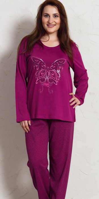 Комплект домашний женский Vienettas Secret Бабочка: брюки, лонгслив, цвет: баклажановый. 704158 2160. Размер XXL (52)704158 2160