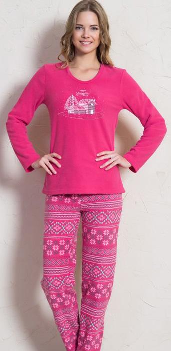 Комплект домашний женский Vienettas Secret Деревенька: брюки, лонгслив, цвет: малиновый. 705042 3842. Размер M (46)705042 3842