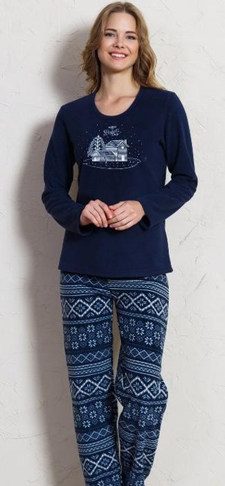 Комплект домашний женский Vienettas Secret Деревенька: брюки, лонгслив, цвет: темно-синий. 705042 3842. Размер M (46)705042 3842