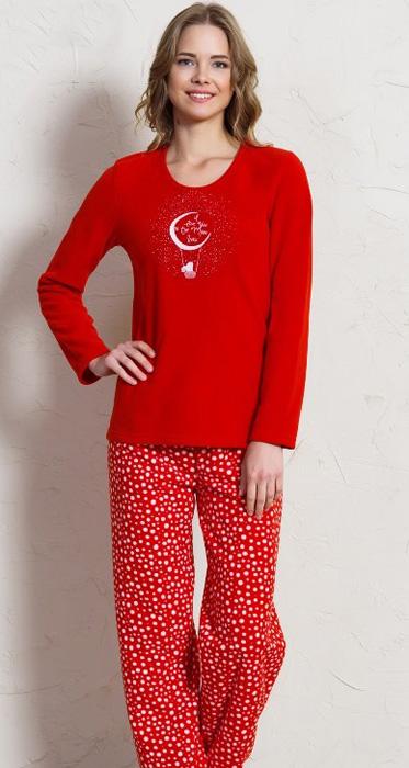 Комплект домашний женский Vienettas Secret Зайчик на шаре: брюки, лонгслив, цвет: вишневый. 705043 2797. Размер M (46)705043 2797