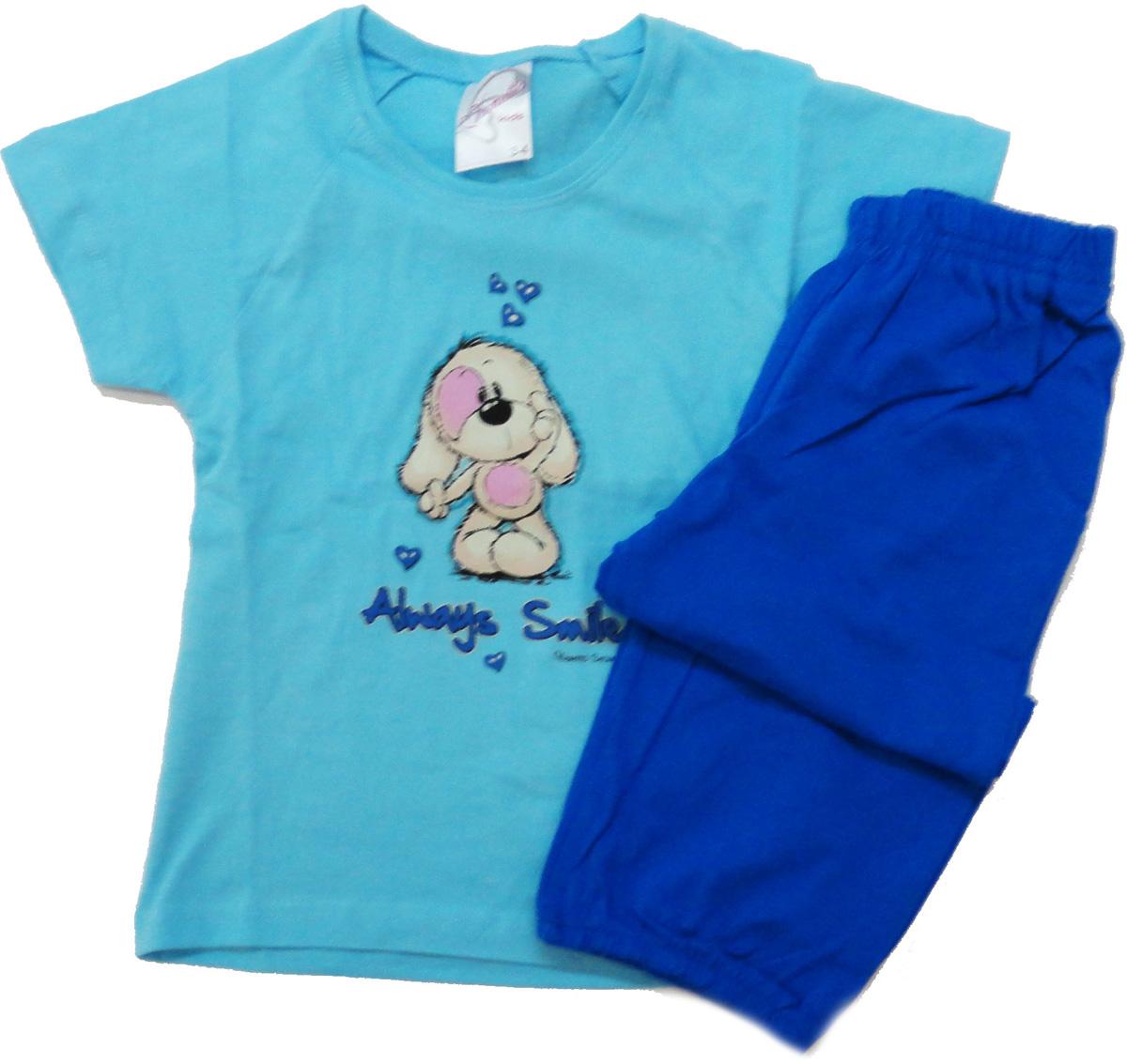 Комплект домашний для девочки Vienettas Secret Собачка Always Smile: капри, футболка, цвет: бирюзовый, голубой. 9050057. Размер 98/110, 4 года9050057Комплект домашний для девочки Vienettas Secret изготовлен из натурального хлопка с ярким принтом, состоящий из капри и футболки, идеально подойдет вашей маленькой принцессе. Предметы комплекта очень мягкие на ощупь, не раздражают даже самую нежную и чувствительную кожу ребенка и хорошо вентилируются.