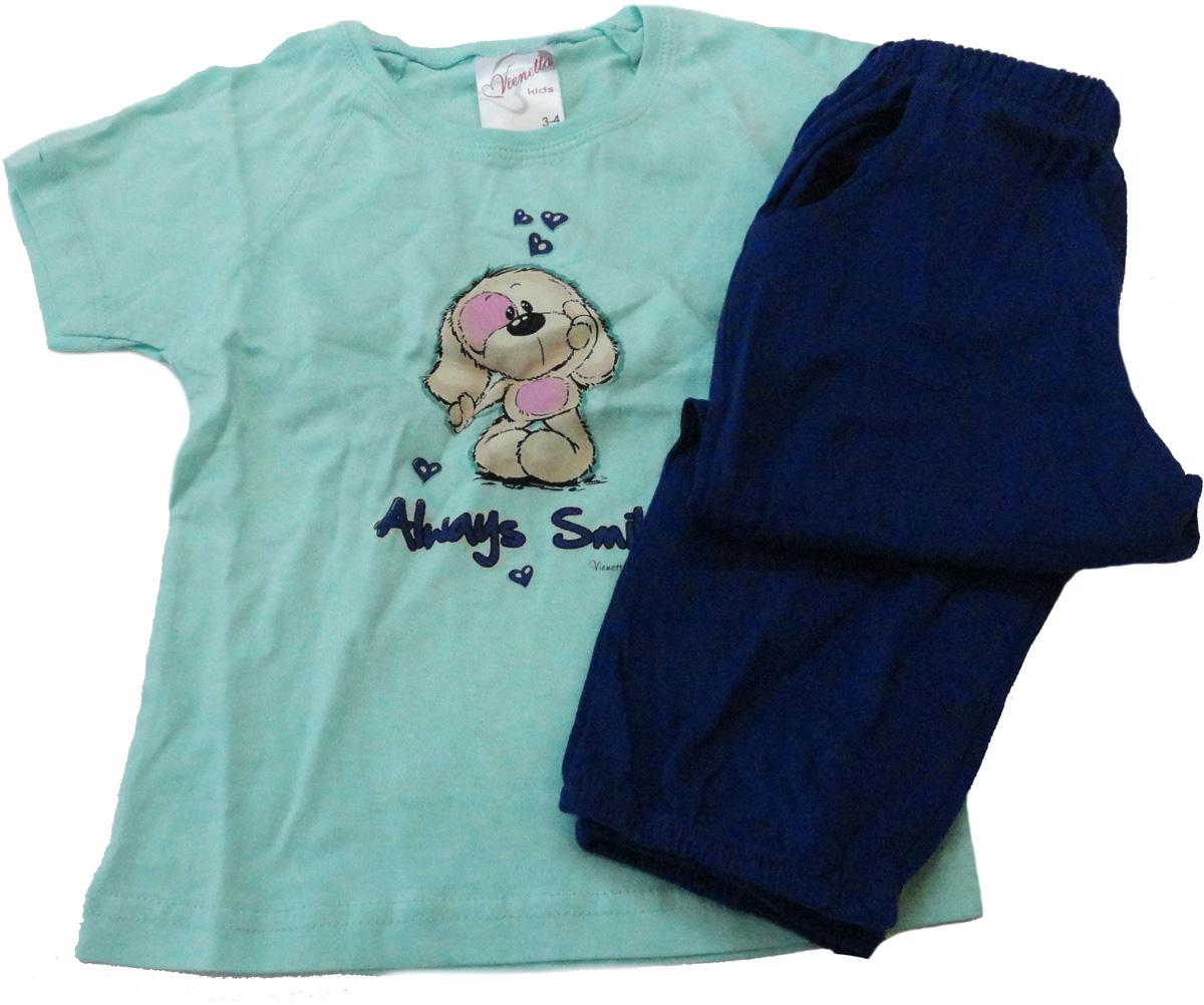Комплект домашний для девочки Vienettas Secret Собачка Always Smile: капри, футболка, цвет: голубой, синий. 9050057. Размер 98/110, 4 года9050057Комплект домашний для девочки Vienettas Secret изготовлен из натурального хлопка с ярким принтом, состоящий из капри и футболки, идеально подойдет вашей маленькой принцессе. Предметы комплекта очень мягкие на ощупь, не раздражают даже самую нежную и чувствительную кожу ребенка и хорошо вентилируются.