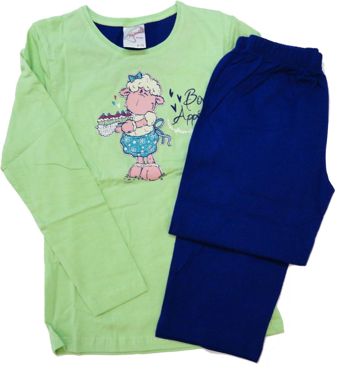 Комплект домашний для девочки Vienettas Secret Овечка: брюки, лонгслив, цвет: фисташковый. 403309 4434. Размер 146/152, 12 лет403309 4434