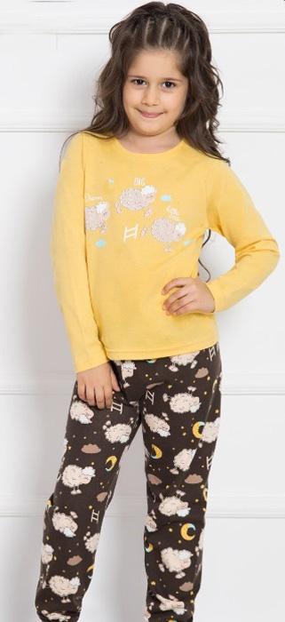 Комплект домашний для девочки Vienettas Secret Овечка под звездами: брюки, лонгслив, цвет: желтый. 703006 9434. Размер 110/122, 5-6 лет703006 9434