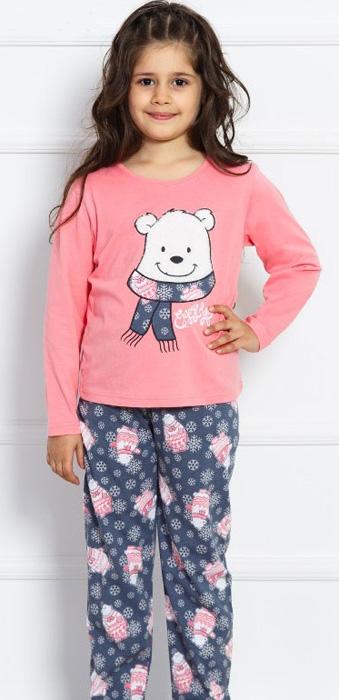 Комплект домашний для девочки Vienettas Secret Be Afraid: брюки, лонгслив, цвет: розовый. 703008 5130. Размер 146/152, 11-12 лет703008 5130