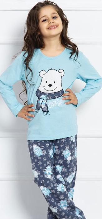 Комплект домашний для девочки Vienettas Secret Be Afraid: брюки, лонгслив, цвет: светло-бирюзовый. 703008 5130. Размер 158/164, 13-14 лет703008 5130