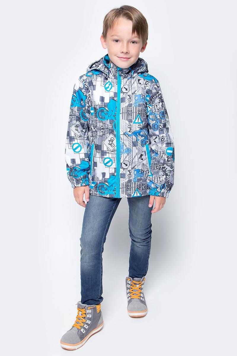 Куртка для мальчика Huppa Jody, цвет: белый, голубой, серый. 17000004-72220. Размер 13417000004-72220Куртка с подкладкой для мальчика Huppa c длинными рукавами, воротником-стойкой и съемным капюшоном, выполнена из высококачественного водонепроницаемого и ветрозащитного материала на основе полиэстера. Модель застегивается на застежку-молнию с защитой подбородка спереди. Изделие имеет два прорезных кармана на застежках-молниях. Манжеты рукавов собраны на внутренние резинки. Модель оформлена оригинальным контрастным принтом. На изделии имеются светоотражательные элементы для безопасности в темное время суток.