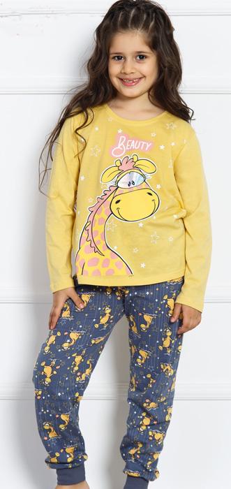 Комплект домашний для девочки Vienettas Secret Динозаврик под звездами: брюки, лонгслив, цвет: желтый. 703020 3130. Размер 146/152, 11-12 лет703020 3130