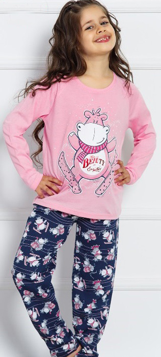 Комплект домашний для девочки Vienettas Secret Бегемотик на лыжах: брюки, лонгслив, цвет: розовый. 703027 0392. Размер 134/140, 9-10 лет703027 0392