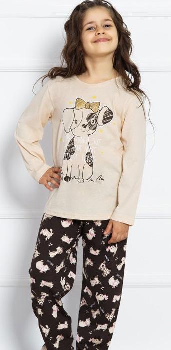 Комплект домашний для девочки Vienettas Secret Собачка Puppy Love: брюки, лонгслив, цвет: молочный. 703029 0393. Размер 158/164, 13-14 лет703029 0393Комплект домашний для девочки Vienettas Secret изготовлен из натурального хлопка с ярким принтом, состоящий из брюк и лонгслива, идеально подойдет вашей маленькой принцессе. Предметы комплекта очень мягкие на ощупь, не раздражают даже самую нежную и чувствительную кожу ребенка и хорошо вентилируются.