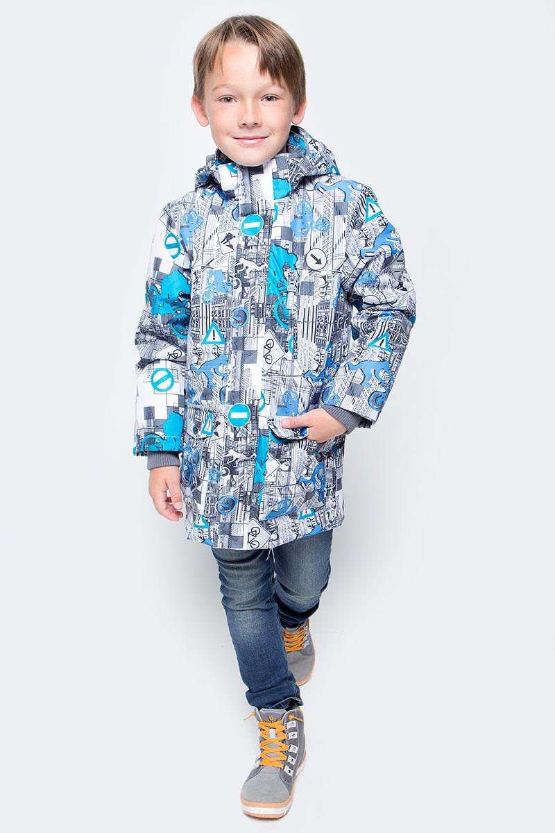 Куртка для мальчика Huppa Rolf, цвет: белый, голубой, серый. 17640004-72220. Размер 15217640004-72220Куртка для мальчика Huppa Rolf c длинными рукавами, воротником-стойкой и съемным капюшоном на кнопках и липучках выполнена из высококачественного водонепроницаемого и ветрозащитного материала на основе полиэстера. Наполнитель - синтепон. Воротник отделан мягким флисом изнутри. Модель застегивается на застежку-молнию с защитой подбородка спереди и имеет ветрозащитный клапан на липучках. Изделие имеет два накладных кармана с клапанами на кнопках, два открытых накладных кармана и нагрудный карман на застежке-молнии, дополненный узким клапаном. Рукава дополнены внутренними трикотажными манжетами. Объем талии куртки регулируется при помощи шнурка-кулиски. Куртка дополнена светоотражающими элементами, все швы проклеены. Модель украшена оригинальным контрастным принтом. Вес наполнителя - 40 г.