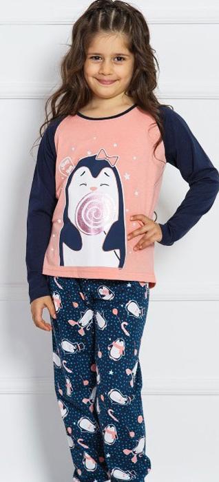 Комплект домашний для девочки Vienettas Secret Пингвин с леденцом: брюки, лонгслив, цвет: светло-персиковый. 703042 3126. Размер 146/152, 11-12 лет703042 3126Комплект домашний для девочки Vienettas Secret изготовлен из натурального хлопка с ярким принтом, состоящий из брюк и лонгслива, идеально подойдет вашей маленькой принцессе. Предметы комплекта очень мягкие на ощупь, не раздражают даже самую нежную и чувствительную кожу ребенка и хорошо вентилируются.