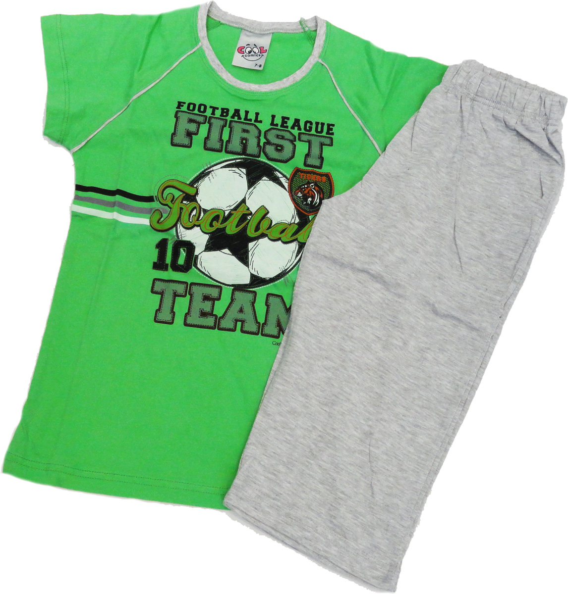 Комплект домашний для мальчика Vienettas Secret Футбол: капри, футболка, цвет: зеленый. 9060059. Размер 122/134, 8 лет9060059