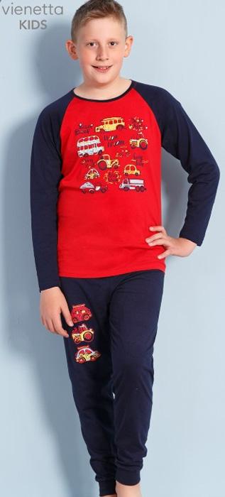 Комплект домашний для мальчика Vienettas Secret Машинки: брюки, лонгслив, цвет: вишневый. 703108 0000. Размер 122/134, 7-8 лет703108 0000Комплект домашний для мальчика Vienettas Secret изготовлен из натурального хлопка с ярким принтом, состоящий из брюк и лонгслива, идеально подойдет вашему маленькому принцу. Предметы комплекта очень мягкие на ощупь, не раздражают даже самую нежную и чувствительную кожу ребенка и хорошо вентилируются.