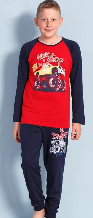 Комплект домашний для мальчика Vienettas Secret Never Be Stop: брюки, лонгслив, цвет: вишневый. 703119 0000. Размер 134/140, 9-10 лет703119 0000
