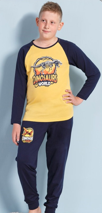 Комплект домашний для мальчика Vienettas Secret Dinosaurs World: брюки, лонгслив, цвет: желтый. 703121 0000. Размер 122/134, 7-8 лет703121 0000Комплект домашний для мальчика Vienettas Secret изготовлен из натурального хлопка с ярким принтом, состоящий из брюк и лонгслива, идеально подойдет вашему маленькому принцу. Предметы комплекта очень мягкие на ощупь, не раздражают даже самую нежную и чувствительную кожу ребенка и хорошо вентилируются.