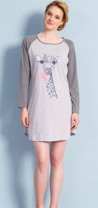 Туника женская Vienettas Secret Жираф с бантом, цвет: серый меланж. 704140 0000. Размер M (46)704140 0000
